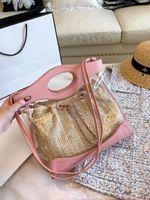 Wholesale ladies hand bag lock for sale - designer handbags chain shoulder strap PVC composite beach handbag fashion totes shoulder ladies purses hand bag