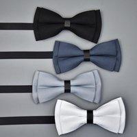 ingrosso legame azzurro semplice-ingrosso a differire in lunghezza solido papillon uomo rosso blu nero grigio bianco viola rosa 12 colori pianura bowtie per gli uomini di nozze