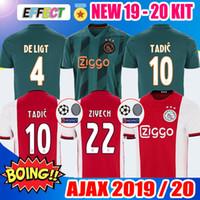 ingrosso pullover di calcio migliore della tailandia-La migliore Thailandia 2019 2020 Ajax FC maglie di calcio home bambini 19 20 DE JONG # 7 NERES # 10 TADIC # 4 DE LIGT # 22 ZIYECH 2018 Kit Calcio T-Shirt
