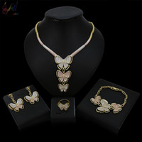 Wholesale 18k bridal necklaces set design for sale - Group buy Yulaili Unique Top Design Butterfly Three Pendant Dubai Gold Color Jewelry Sets Costume Jewellery For Women Wedding Bridal