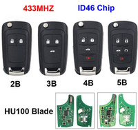 Wholesale car remote key chevrolet for sale - Group buy Button Folding Flip Remote Key Smart Car Key Fob MHz ID46 Chip For Chevrolet Aveo Cruze Orlando HU100 Uncut Blade