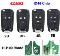 chip id46 433 mhz al por mayor-Envío gratis 2/3/4/5 Botón plegable Flip Remote Key Smart Car Key Fob 433MHz ID46 Chip para Chevrolet Aveo Cruze Orlando HU100 Blade sin cortar