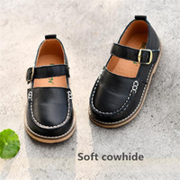 Wholesale cow girls dress resale online - Children s shoes spring new Genuine Leather girls single shoes Cowhide soft princess black Dress performance