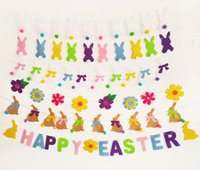 fahne girlande groihandel-Happy Easter Banner Flag Ostern Girlande Party Supplies Kaninchen Bunny Flower Fröhliche Ostern Flaggen Hintergrunddekoration