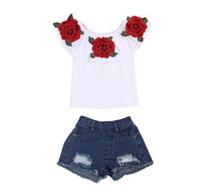 denim estampado de flores al por mayor-Venta caliente del verano del bebé niños niñas ropa 3D estampado de flores sin mangas con volantes cuello redondo jersey Camisetas Denim Hole pantalones 2pc algodón conjunto