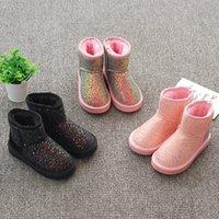 sevimli pembe çizmeler toptan satış-Kısa buzağı Kar Boots Tatlı Sevimli Kış Sıcak Ayakkabı Küçük Prenses Twinkle Bilek Boots Pembe Siyah Mavi Boyut 27-36 Shining Kız