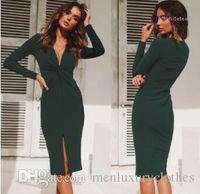 Wholesale ankle length dresses for autumn for sale - Group buy Dresses for Women Spring Autumn Blackish Green Split Up Deep V neck Long Sleeved Pencil Dress OL Work Bodycon