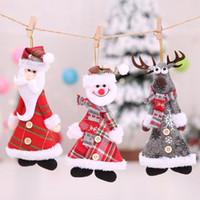 Wholesale santa claus plush doll resale online - 1pc Christmas Decorations Plush Doll Christmas Santa Claus Snowman Tree Hanging Ornaments Pendant Home Decor
