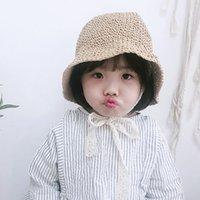 chapéu caqui do sol do bebê venda por atacado-Quenya handmade verão bebê chapéu de palha meninas rendas à prova de vento cabo de praia chapéu de sol de aba larga bonito disquete chapéu cáqui e bege