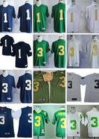 uniformes de fútbol amarillo naranja al por mayor-Men # 3 Joe Montana Azul marino Blanco Verde 1 Louis Nix III Norte Dame Fighting Irish Colegio de fútbol de los jerseys del tamaño S-3XL