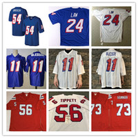 jerseys de fútbol cosido al por mayor-NCAA para hombre # 56 Andre Tippett Vintage Football Jersey cosido # 73 John Hannah # 11 Drew Bledsoe 24 Ty Law 54 Tedy Bruschi Jersey S-3XL