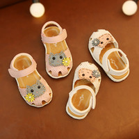 Wholesale baby pink cute sandals for sale - Group buy baby girls cat sandals shoes soft sole anti slip first walkers newborn shoes infant prewalkers cute design