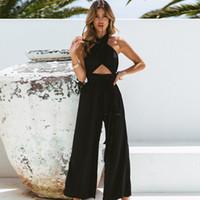 europa jumpsuit großhandel-Designer Frauen Overalls Europa und die Vereinigten Staaten New Cross Hanging Neck Neckholder Mode Breite Beinhosen Kleid einteiliges Overall Frauen