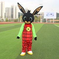 traje de coelho mascote adulto venda por atacado-Atacado bing bunny Mascot Costume Personalizado Adulto Tamanho coelho Personagem de Banda Desenhada Mascotte para animal Adulto grande preto vermelho festa de Halloween