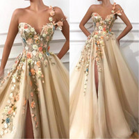 2020 Sexy One Shoulder Tulle A Line Long Prom Dresses 3D Floral Lace Applique Beaded Split Floor Length Formal Party Evening Dresses BC0684