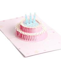 cartão 3d do bolo feito à mão venda por atacado-3D Laser Cut Pop Up Bolo De Aniversário De Papel Handmade Do Vintage Cartões Postais Cartões Personalizados Presentes de Aniversário 3D