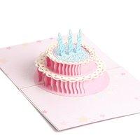 ingrosso 3d pop up carte di compleanno torta-3D Laser Cut Pop Up Paper Birthday Cake Cartoline d'epoca fatte a mano Biglietti d'auguri personalizzati Regali di compleanno 3D