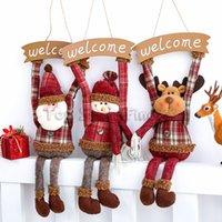 ingrosso finestra di decorazione di natale-Babbo Natale benvenuto pupazzo di neve bambola ciondolo di natale ornamento regali per bambini regalo finestra porta decor creativo casa natale decorazione del partito