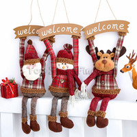 Wholesale xmas decoration window for sale - Group buy Santa Claus Welcome Snowman Doll Christmas Pendant Ornament Kids Gifts Present Window Door Decor Creative Home Xmas Party Decoration