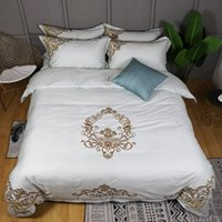 Wholesale sham bedding resale online - 500 TC Cotton Hotel Gold Embroidery Duvet Cover King Queen size with Ultra Soft Bed sheet or Fitted sheet Pillow shams