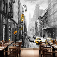Wholesale building modern art painting resale online - Custom Size D Oil Painting Wallpapers Modern Grey City Building Poster Art Canvas Painting for Living Room Home Decor TV Backgr