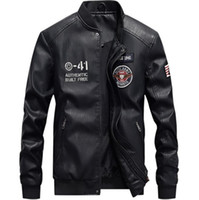 Wholesale color printing leather resale online - Mens PU Leather Jackets Autumn Stand Collar Long Sleeve Designer Mens Leather Coats Mens Epaulet Printed Coats