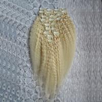 26-zoll-clip menschenhaarverlängerungen großhandel-Blonde Brazilian Kinky Straight Echthaarspange In Haarverlängerung 10 Stück und 120g / Set 12 - 24 Zoll Remy Coarse Yaki Clip in Extensions