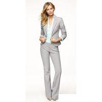 светло-серый костюм женщины оптовых-Light Gray Women Pants Suits Blazer Business Work Wear Uniforms Ladies Pant Suits Trouser Suit Women Formal Blazer+Pants