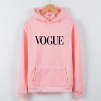 vogue pullover groihandel-VOGUE Lustige Hoodies für Frauen Crewneck Sweatshirt gedruckt Fleece-Sweatshirts für Frauen-Schwarz-Weiß Hoodies Coat Top