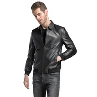 Wholesale sheeps skin jackets coats online - mens clothing outerwear jacket coats turtle neckline genuine leather sheep skin custom made black leather coats