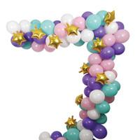globos de color rosa púrpura blanco al por mayor-Unicorn Balloons Arch Garland Kit, 110 Pack White Light Purple Pink Aqua Blue Mint Green Globos de látex Gold Mylar Star Balloons Set para bebés