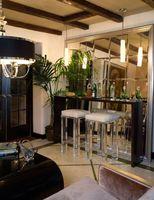 mini espejos de pared al por mayor-Espejo de vidrio biselado de lujo personalizado para pared de mini bar