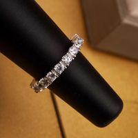 anéis de diamantes puros venda por atacado-Marca Pura prata S925 Top quality paris anel de design com uma linha de diamante decorar selo logotipo charme mulheres jóias PS6407A