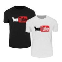camisas casuais soltas venda por atacado-Mens Designer de Verão camisetas Impressão YouTube 100% algodão Casual soltas Mens T Shirt Top Quality manga curta S-3XL