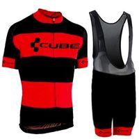 pro team würfel radfahren trikot großhandel-Radtrikot Kurzarm 2019 Pro Team CUBE Fahrrad Fahrradbekleidung Herren Mountainbike Maillot Ropa Ciclismo Trägerhose Set