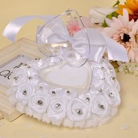 Romantic white ring pillow with rhinestone polyester rose heart-shaped ring box wedding supplies Ring Pillows wedding accessories