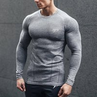 Wholesale exercise shirts for men resale online - Mens Long Sleeve T Shirt Skin Tight Crewneck Exercise Tees for Spring Autumn Colors Male Gym Fitness Tops