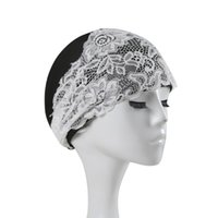Wholesale beautiful girl hats resale online - Beautiful Women Lace Beach Quick Dry Swimming Cap Girls Flower Elastic Hollow Out Bathing Hat Swimming Pool Caps