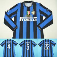 vintage j toptan satış-09 10 Inter Milito J. Zanetti Materazzi Samuel Retro Uzun Kollu Futbol Forması 2009 2010 Milan Sneijder Milano Klasik Vintage MAGLIA Calcio
