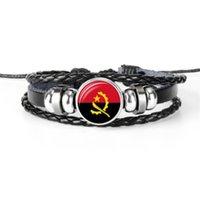 ingrosso braccialetti di corda in rilievo di mens-Hot Fashion 100% intrecciata a mano in pelle braccialetti con perline di vetro Cabochon Angola National Flag Coppa del mondo di calcio fan gioielli per le donne degli uomini
