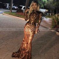 siyah sanat resimleri toptan satış-Sparkly Altın ve Siyah Mermaid Gelinlik Uzun Kollu 2019 ile Gerçek görüntü Yüksek Boyun Sequins Dantel Müslüman Arapça Abiye giyim