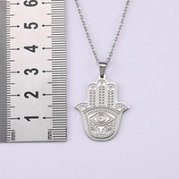 Wholesale eye shaped necklace for sale - Group buy My shape Hamsa Hand Evil Eye L Stainless Steel Necklace Women Amulet Pendant Choker Jewelry Religious Jewish Women Men Gift