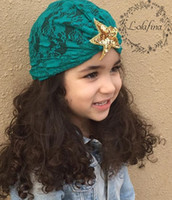 Wholesale crochet hats for sale resale online - Hot Sales Lace Sequin kids girls Turban Hats Thermal Caps For Infant Newborn Kid Unisex Stylish Fashion lace Star Sequins Cap for Toddlers