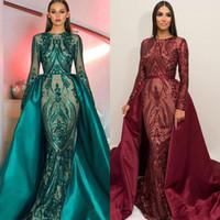 mode kunst fotos großhandel-2019 Green Long Sleeves Luxus Mermaid Abendkleid Appliques Pailletten Fashion Mit Zug Abendkleider Real Photos Graduation Dresses