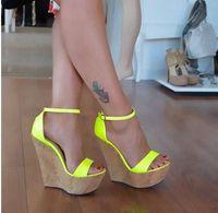 Wholesale shoes cutouts resale online - Newest Fluorescent Rose Ankle Strap Platform Wedge Sandal for Woman Summer Open Toe Cutouts Shoes Gladiator Sandal