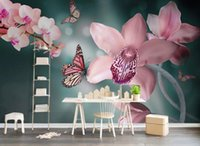 güzel kelebek duvar kağıtları toptan satış-güzel manzara duvar kağıtları Modern güzel kelebek orkide orkide TV arka plan duvar