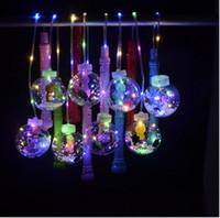 fenerler için ışıklı teller toptan satış-Saplı Sevgililer Günü LED Karikatür Fener Balonlar El Flaşör Balonlar Gece Aydınlatma Bobo topu Led Işıklar Çok renkli Balon