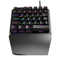 tuş takımı klavye anahtarları toptan satış-Mekanik Klavye 35 Tuşları Mavi Anahtarı Mini Oyun Tuş Takımı LED Aydınlatmalı Kablolu USB Klavye Laptop Için