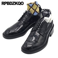 italya elbise ayakkabıları toptan satış-İtalya erkekler parti ayakkabı klasik patent deri İngiliz tarzı elbise oxfords hayvan baskı artı boyutu kare ayak arı siyah italyan