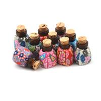 pequenas garrafas de barro venda por atacado-Mini garrafa de argila de polímero de armazenamento de talão com rolhas Limpar pequena de vidro pequena frascos de jóias de presente especial desejo garrafa para decoração de Payty